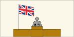 Flag behind a speaker