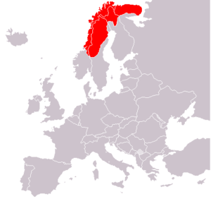 Sápmi is shown in red.