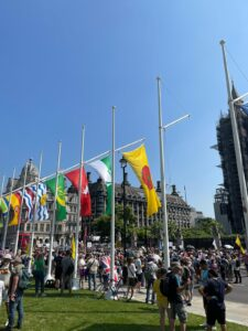 Flags of the UK's historic counties fly in Parliament Square, 23 July 2021