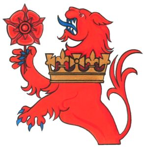 Badge of the March Pursuivant - a red lion rampant with red rose and gold crown