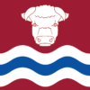 Herefordshire Flag: a deep red field with a white bull's head above three alternate wavy lines - white, blue, white